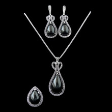 2016 Newest Fashion Design Antique Silver Plated Vintage Black Water Drop Jewellery Set