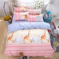 Karikatür Nevresim Set Zürafa baskı yatak set Tek Tam/Kraliçe/kral 3/4 adet Yatak keten yatak Örtüsü yatak takımları Çocuklar gibi