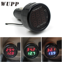 WUPP 2In1 Digital Voltmeter Thermometer 12V Temperature Meter Battery Monitor Red Blue Led Dual Display Car