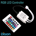 RGB LED Controller DC12V 24Key IR Remote Controller for 3528 5050 RGB LED Strip.