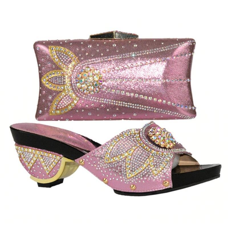 Africaine La Chaussures Haute Or rose Ensemble Et argent Africain Femmes Qualité Fête Chaussure Ensembles Dans Correspondant Sac Pour pourpre Italien 2018 qB0qOwSz