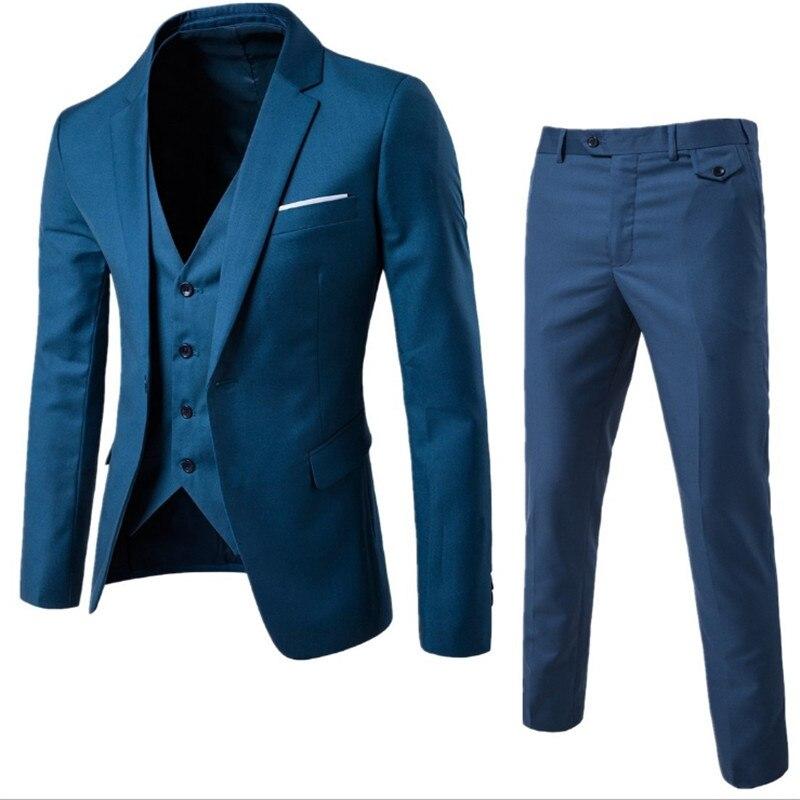 Costume masculin avec pantalon gilet 3 pièce Blazer masculin costume pour mariage Slim fit Business bureau marié fête veste Costumes corée