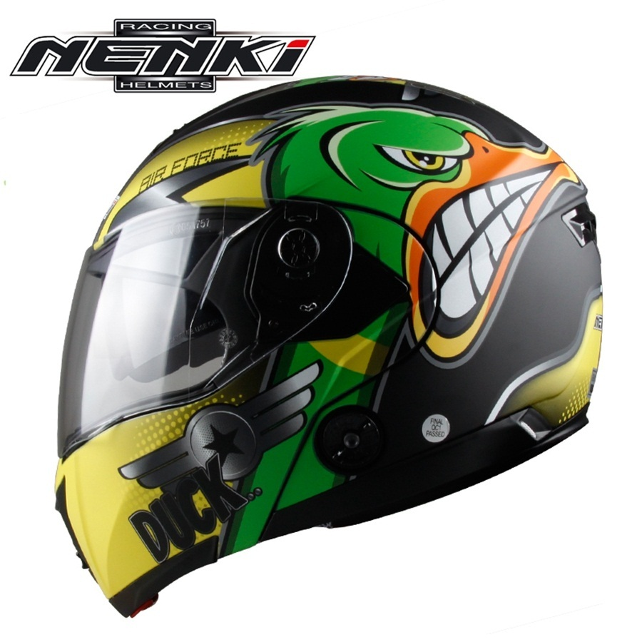 Livraison gratuite 1 pcs NENKI POINT Double Visière Relevable Intégral Modulaire Casco De Course Casque de Motocross De Vélo de Casque De Moto