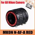 MKON N-AF-A Mount RED Metal AF Enfoque Automático Tubo de Extensión Macro Set para Nikon Cámara