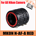 MKON N-AF-A RED Metal Mount Auto Focus AF Macro Extension Tube Set for Nikon Camera