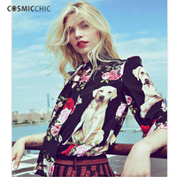 Women Silk Blouses Long Sleeve Top Floral Print Shirt Dog Rose Print High Quality Chiffon Blusas