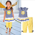 Summer Girls Clothing Sets 2017 New Baby Kids cotton Clothes Suit Children Sunflower printing Sleeveless Striped T-Shirt +Pants