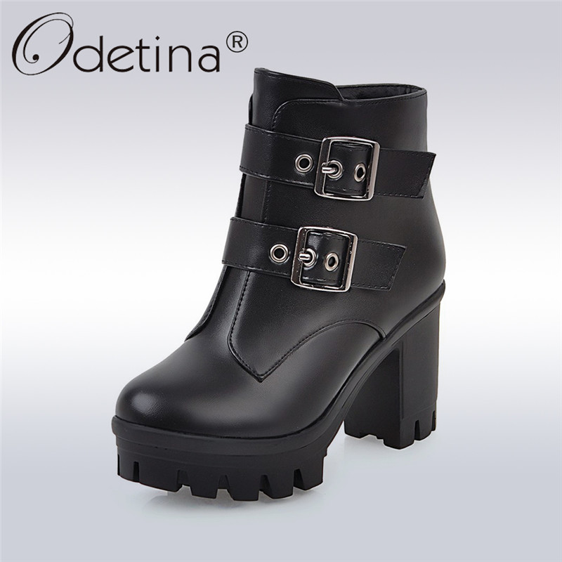 Odetina 2017 New Autumn Winter Women Platform Ankle Boots Thick High Heel Side Zipper Double Buckle Fashion Shoes Big Size 31-48