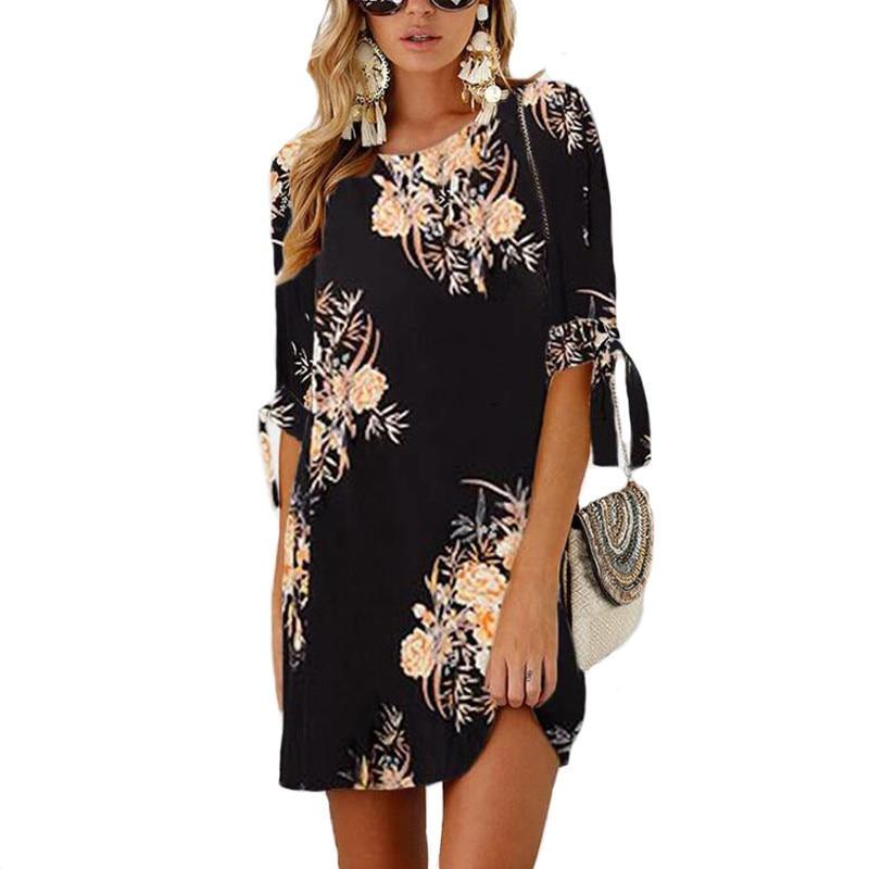2019 Drucken Mini Kleid Plus Größe Gerade Beiläufige Frauen Sommerkleid Chiffon-halbe Hülse Boho Hemd Kleid Sexy Party Weibliche Vestidos HeißEr Verkauf 50-70% Rabatt