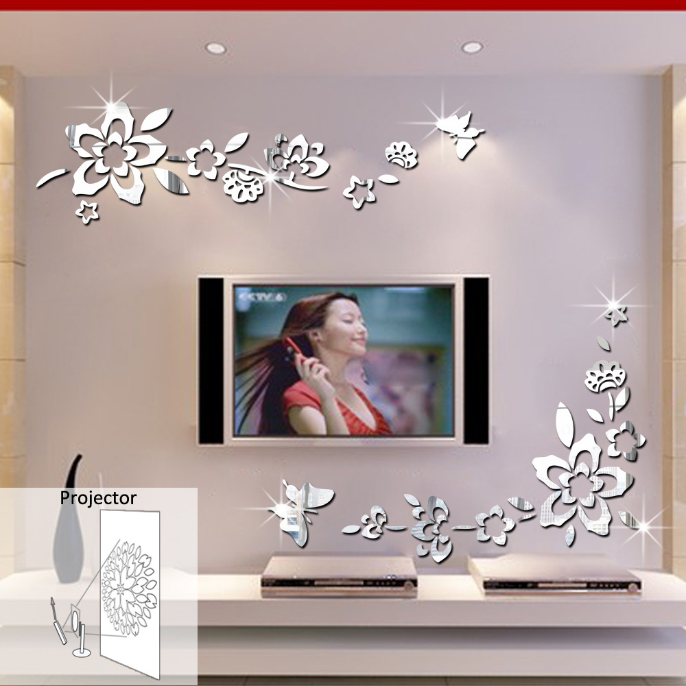 <font><b>Elegant</b></font> Removable Durable Diagonal Floral Mirror Wall Stickers <font><b>Home</b></font> <font><b>Decors</b></font>
