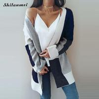 Color Block Autumn Knitted Cardigan Women Sweater Fashion Ladies Long Cardigan Streetwear Girl Causal Open Stitch Sweater Jumper