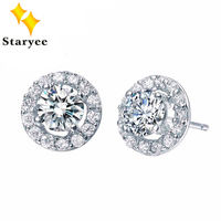 Certified 1 Carat Real 18K Solid White Gold Moissanite Engagement Stud Earrings For Women Round Brilliant VVS G H Free Shipping