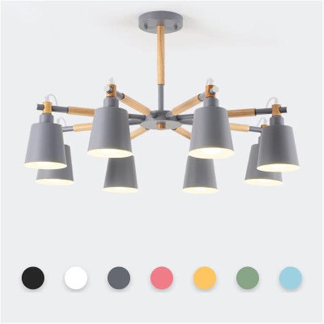 Moderne minimaliste salon log lustre nordique chambre solide bois Hall Macaron lampe pour