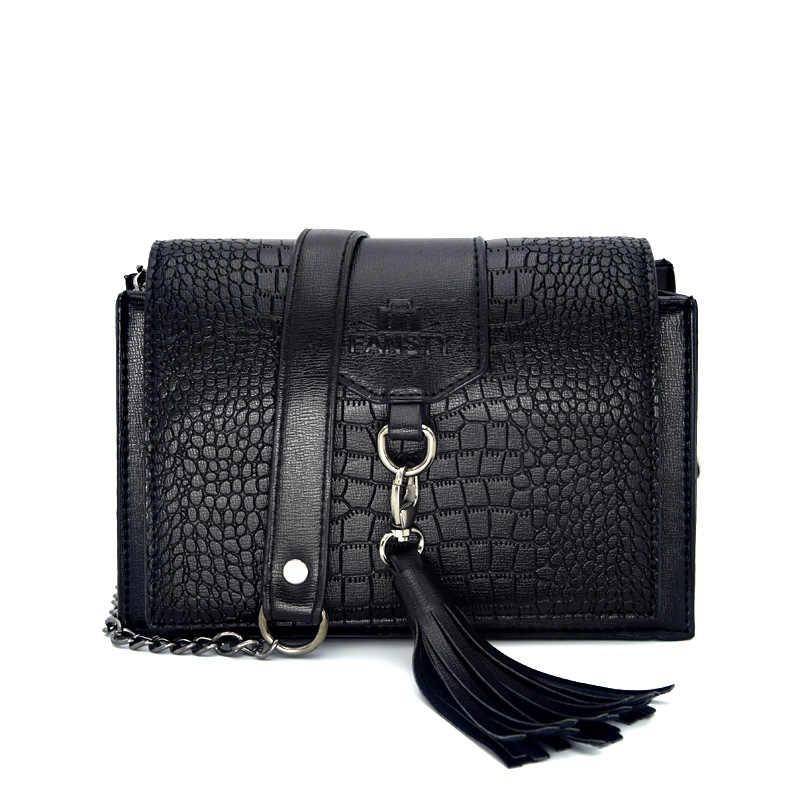 Borla Mujer bandolera famosa marca nueva 2018 patrón de cocodrilo solapa europeo señoras bandolera bolsa moda pequeña bolsa