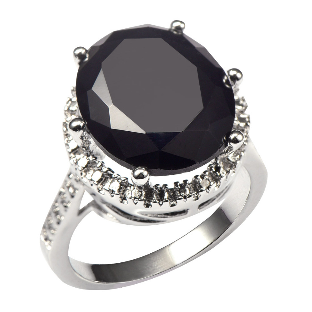 Huge Black onyx With Multi White Crystal Zircon 925 Sterling Silver Factory price Ring For Women Size 6 7 8 9 10 11 F1478