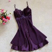 Женское сексуальное шелковое атласное Ночное платье без рукавов, кружевное платье для сна, ночные сорочки с острым вырезом, ночная рубашка, ночное белье