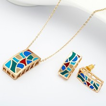 R&X Fashion Joias Engagement Woman Costume Ouro Bridal Jewelry Sets Gift Sets Fine Jewelry Necklace/earrings Heart Sieraden