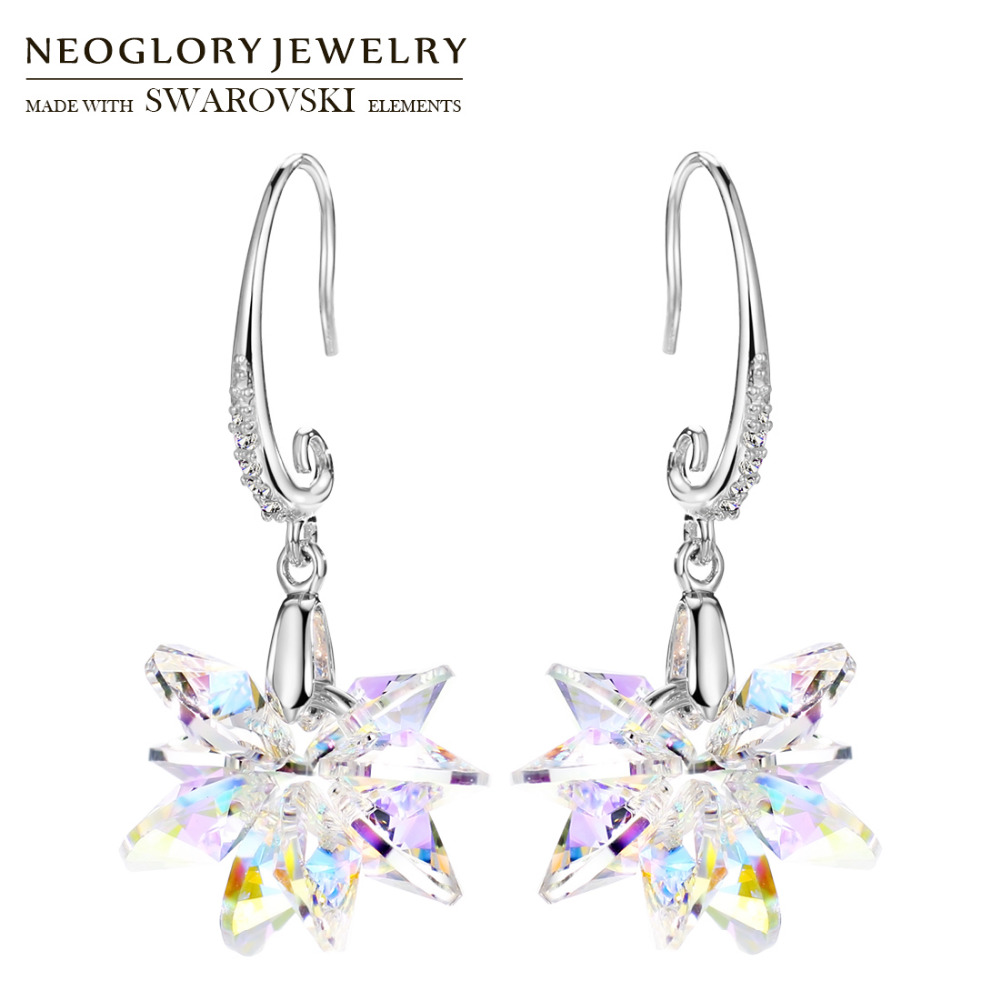 Neoglory Crystal   Rhinestone Long Dangle Earrings Romantic Snowflake Design  Classic Embellished With Crystals From Swarovski 37acc62bc86b