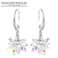 Neoglory MADE WITH SWAROVSKI ELEMENTS Crystal Long Dangle Earrings Romantic Snowflake Design Alloy Plated For Lady