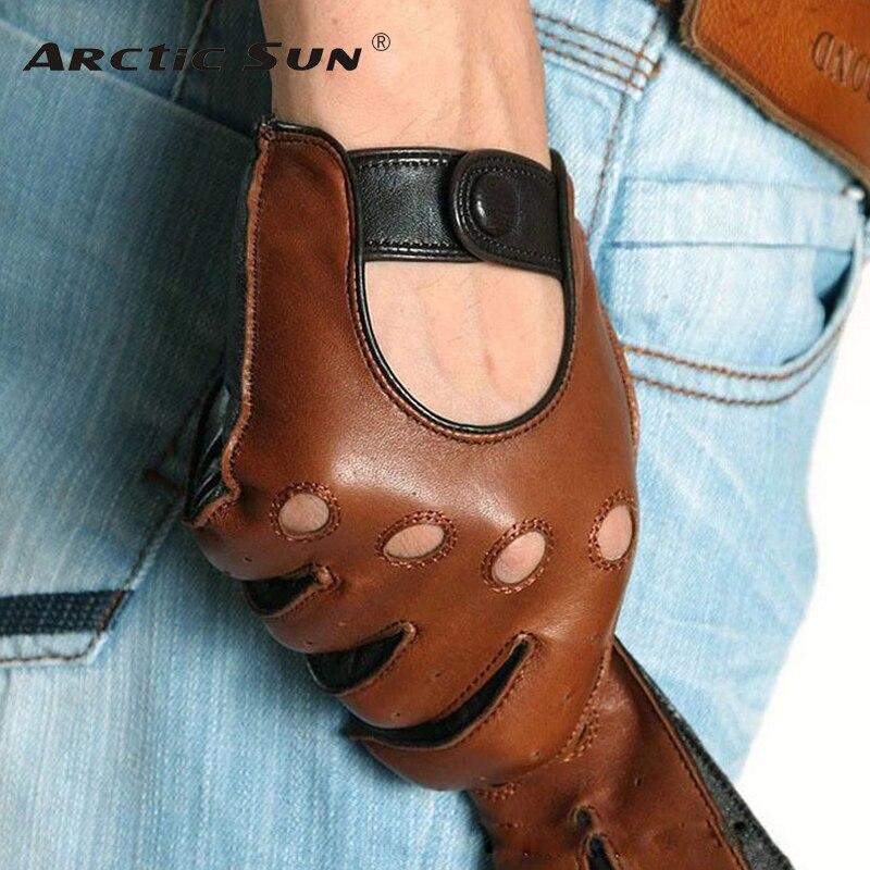 Moda de invierno de piel de cordero de los hombres de ocio de cuero genuino guantes de muñeca respirable sólido de piel de oveja de conducción guante gratis envío M023w