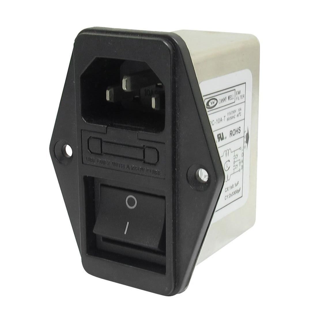 Förderung! Solder Lug Terminals IEC 320 C14 EMI Filter + Boot Schalter + Sicherung Halter