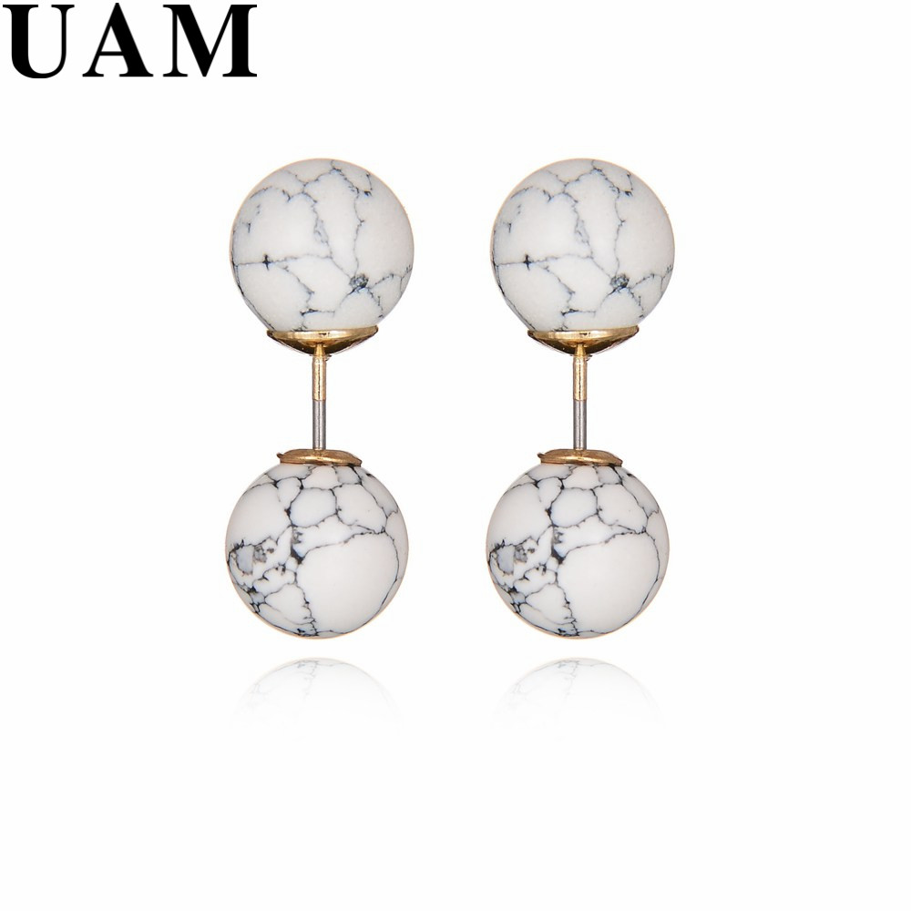 New Design Double Sided Earrings Women Two Round Faux