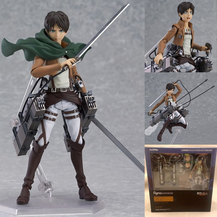Attack on Titan Eren Jaeger Figma 207 PVC Action Figure Collection Model Toy 6 14CM Free Shipping 25cm levi ackerman rivaille li weier soldiers attack on titan trunk standing battle edition pvc action figure model toys