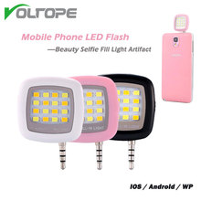 VOLTOPE Mobile phone 16 LED FLASH light Mini Selfie Sync Flashlight for iPhone 6 5s Galaxy S5 Note4 Photography Fill lights