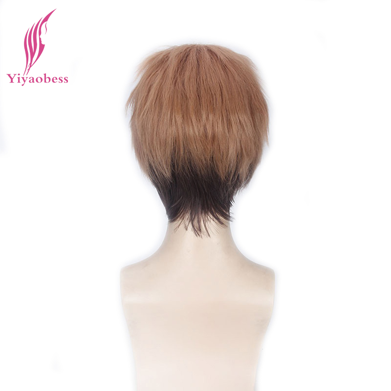 Yiyaobess Attack on Titan Jean Kirschtein Cosplay Wig Short Straight Brown Ombre Wigs For Party Synthetic Hair
