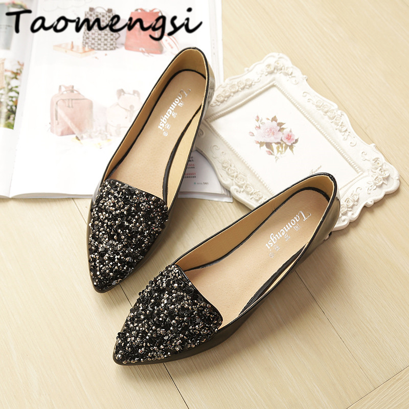 Taomengsi Woman casual flat heel single shoes Tide Fashion pointed Toe diamond Comfortable leather Women's shoes Ladies flats new listing pointed toe women flats high quality soft leather ladies fashion fashionable comfortable bowknot flat shoes woman