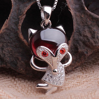 The new 925 Sterling Silver Garnet Necklace Pendant dancing fox national fashion brand jewelry wholesale