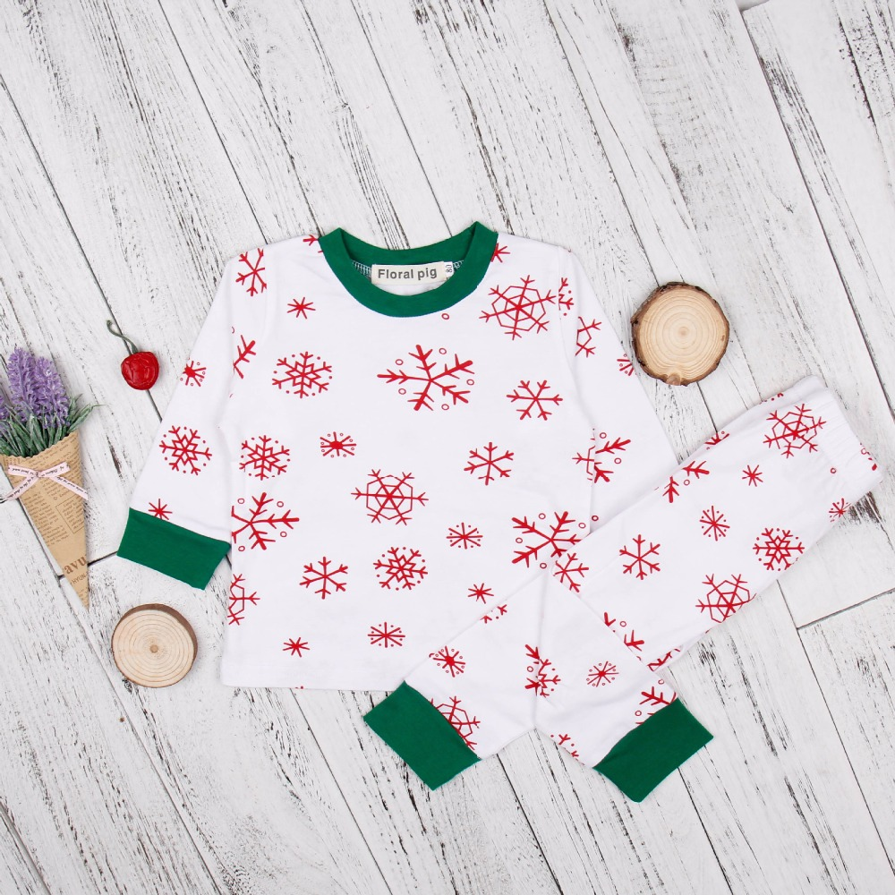 2017 Newborn Fashion Christmas Baby Red Snow Floral Print Green Edge White Boys Girls Sets Long Sleeve Top+Pants Baby Infant Set