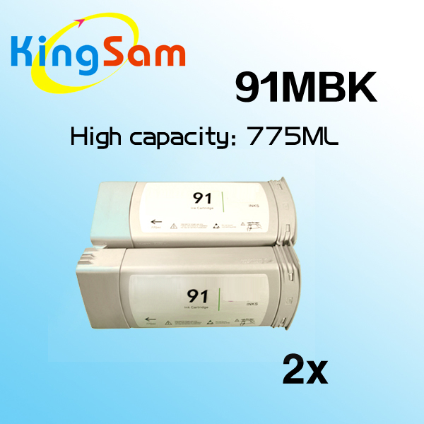 2pcs Matte Black Ink Cartridge For Hp91 Hp 91 C9464A 91MBK Designjet Z6100 Z6100P Printer