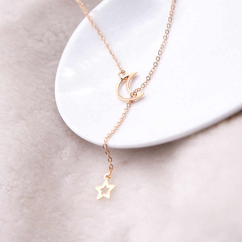 Fashion jewelry for women necklace moon star minimalist kolye Collier Femme bijoux long chain necklace pendant party gift x13