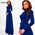 La nueva alta calidad de cuello redondo de manga larga vestido de temperamento, acompañado de largo otoño vestido azul de invierno
