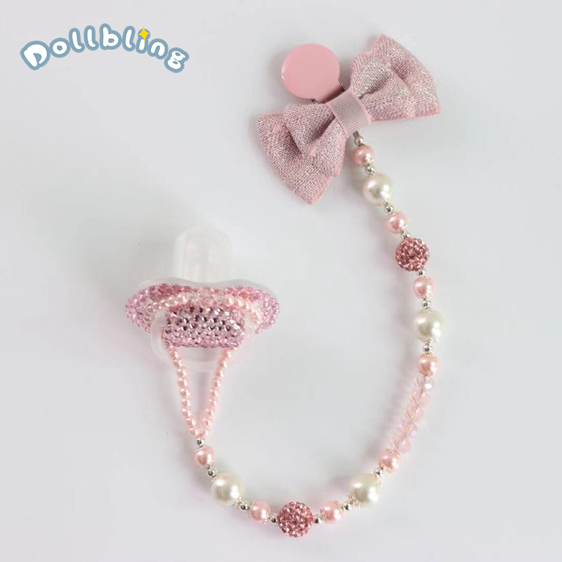 Dollbling DIY Pearls Designed Baby Pacifier Clip Personalised Name Dummy Bling Bling Rhinestones Soother Clips Newborn Keepsake