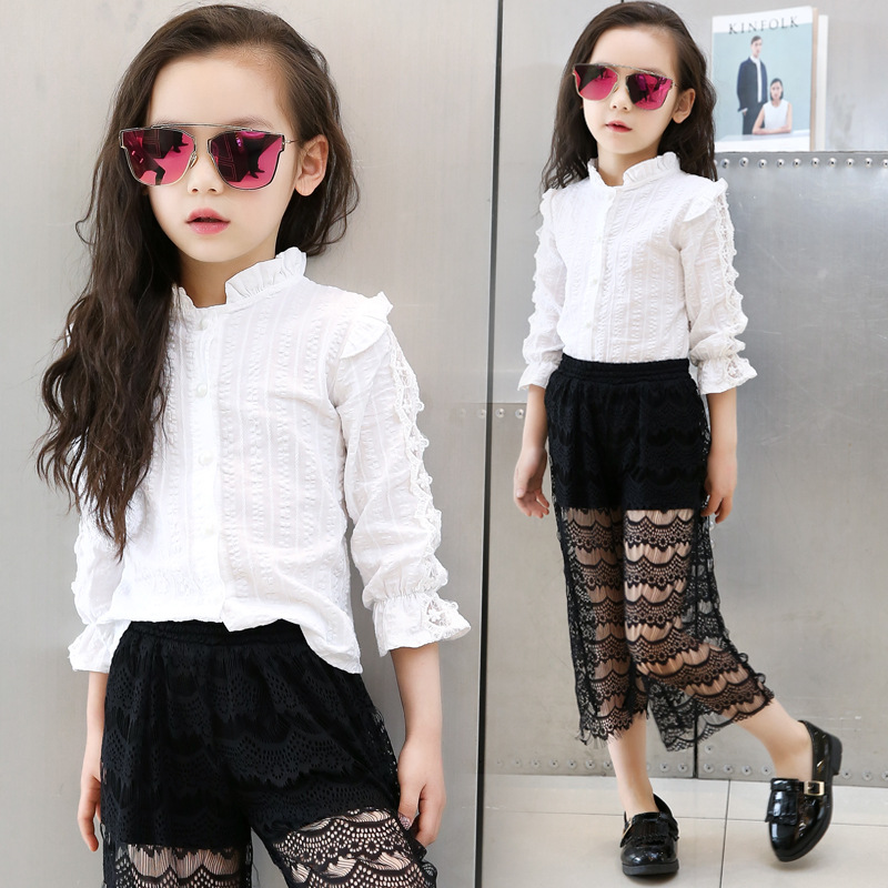 2018 Spring Fall 4-15 Y Lace Baby Big Girls Blouse White Clothes Child Long Sleeve School Girl Shirt Kids Tops