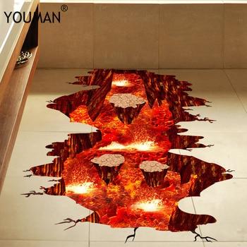 Wallpapers Youman 3D PVC Wall Floor Stickers Ground Cracks Hole Volcanic Magma Kids Rooms Decor Poster DIY Bathroom Creative