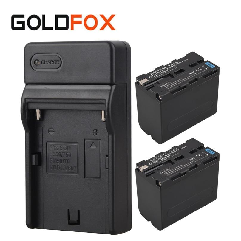2 pcs x 7800 mah NP F960 F970 NPF960 NPF970 Batteries + Mur Chargeur Pour Sony NP-F960 NP-F970 Numérique Remplacement caméra Batterie