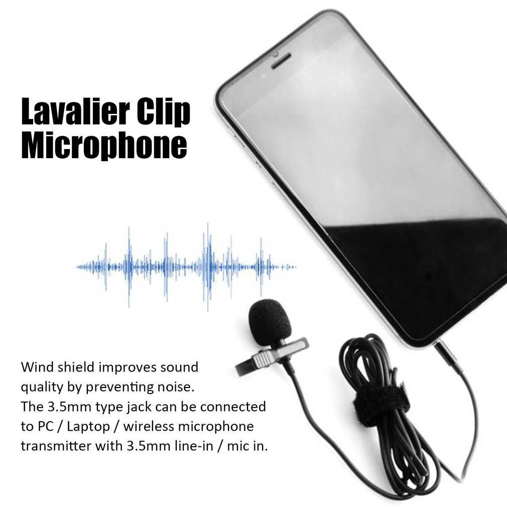 Portable Eksternal 3.5 Mm Mikrofon Lavalier Hands-Free Mini Wired Clip-On Lapel Lavalier Mikrofon untuk Laptop PC grosir