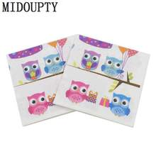 33cm*33cm Printed Feature Owl Cake Balloon Paper Napkins For Event & Party Decoration Tissue Decoupage Servilleta(China)