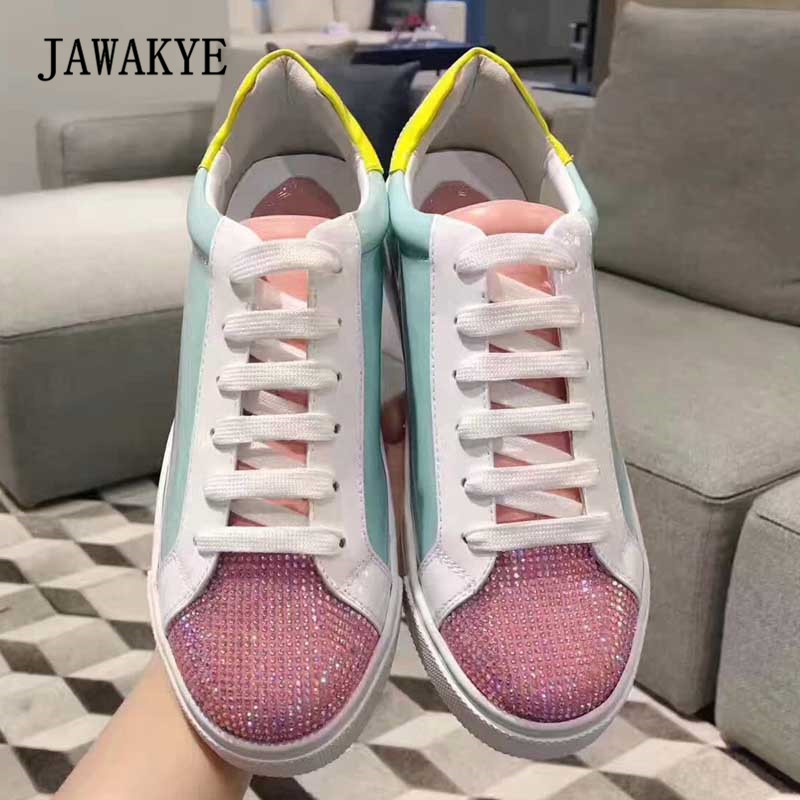 2018 Newest Rhinestone Loafer Shoes Woman Round Toe Mixed Color Patchwork Flat Shoes Lady Fashion Bling Bling Casual Shoes