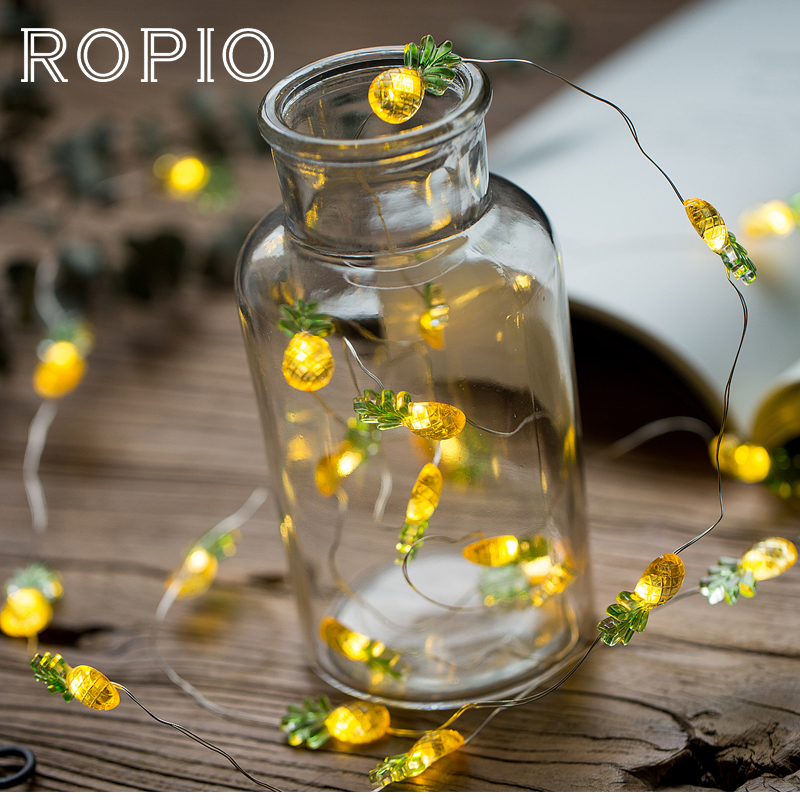 ROPIO 3M Pineapple LED Lighting Strings Fairy String Silver Wire Light Warm White With AA Battery For Wedding Party Decoration