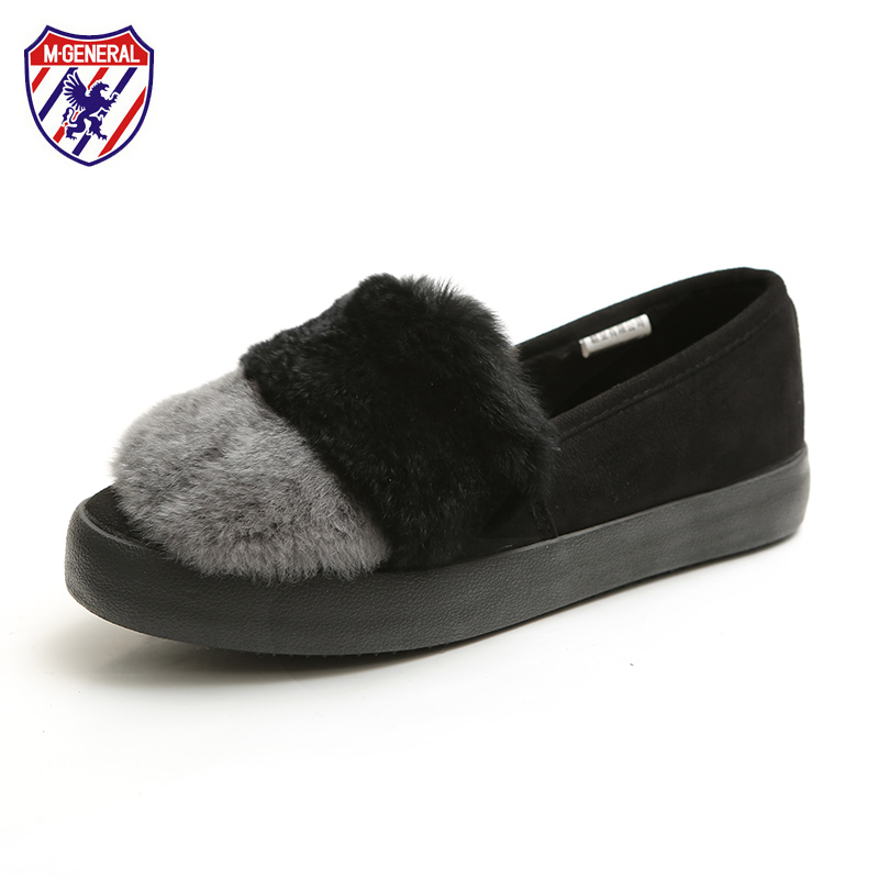 M.GENERAL Women Winter Shoes Faux Fur Flats for Female Mixed Colors Flat Heel Shoes Fur Lined Super Warm Girls Shoes Slip On vesonal brand faux fur women shoes flats 2017 winter warm velvet female fashion ladies woman sneakers casual footwear tsj 189