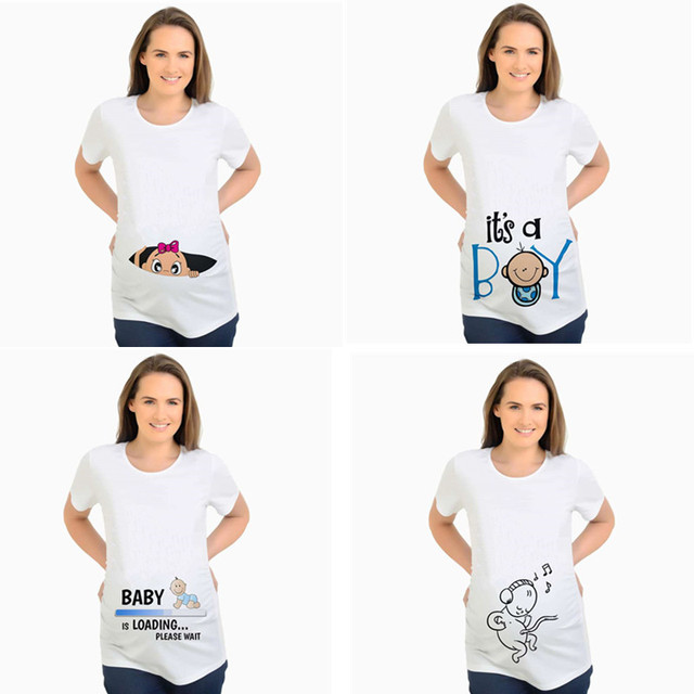 9fde920de63c5 Women's T-shirts Slim Cartoon Maternity Tops Baby is Loading Funny Pregnancy  T shirts Cotton T-shirt for Pregnant Women Tees 2XL