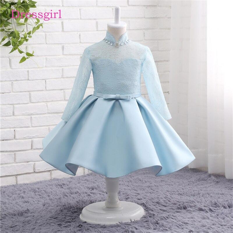 Sky Blue 2019   Flower     Girl     Dresses   For Weddings A-line Long Sleeves Satin Lace First Communion   Dresses   For Little   Girls
