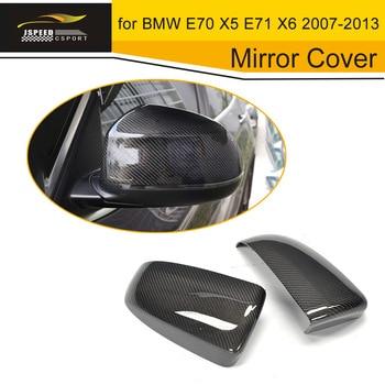 In Fibra di carbonio Specchio Laterale Della Copertura Auto Auto Specchio Alloggiamenti per BMW E70 X5 E71 X6 2007-2013