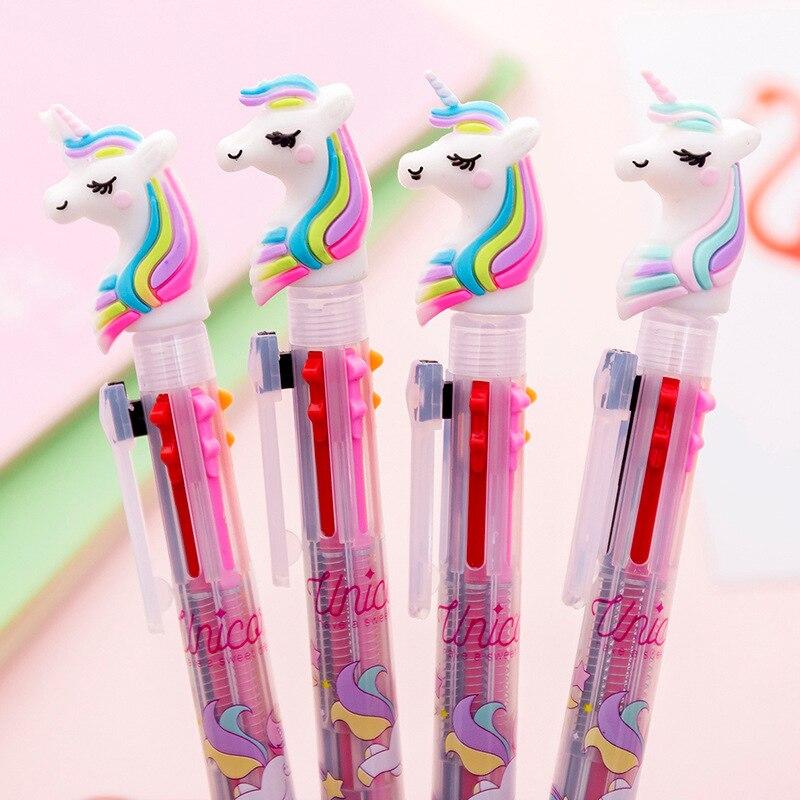 Cartoon Unicorn Ballpoint Pen Kawaii Silica Rainbow 3 Colored Ink Ball Pens For Writing Kids Students Gift Creative Stationery