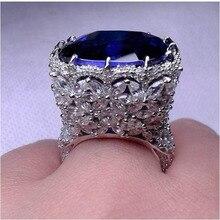 Qi Xuan_Fashion Jewelry_Customized роскошный голубой камень цветок Rings_S925 цельное серебряное кольцо с голубым камнем_ прямые продажи с фабрики