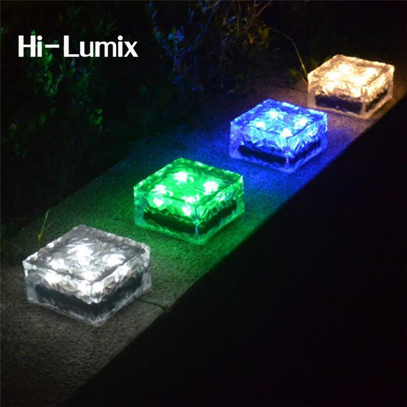 Hi-lumix Glass Stone Ice Cube Solar Led Path Light Brick 4leds Ip67 Waterproof In-ground Buried Lights For Garden Courtyard Making Things Convenient For The People